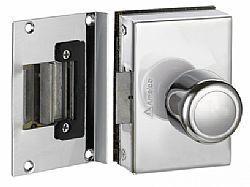 Fechadura Elétrica maçaneta BOLA porta de VIDRO 1 folha recorte AMELCO FV 33 ICR(Abertura Interna)
